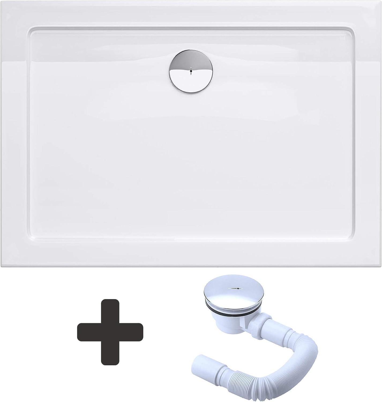 Bonde AL01 Bac /à douche 80x110 receveur de douche antiglisse rectangulaire blanc Sogood Lucia04AR 80X110X4