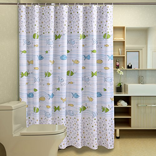 Sfoothome Fresh Fish Printed Pattern Mildew Proof And Waterproof Polyester Fabric Shower Curtain With Free Hooks For Bathroom 72 Inch By