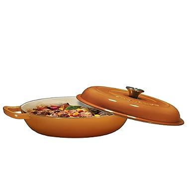 Enameled Cast Iron Casserole Braiser - Pan with Cover, 3.8-Quart, Pumpkin Spice