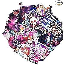 Purple Sky Graffiti Sticker, 50 Pieces Waterproof Vinyl Stickers for Personalize Laptop, Car, Helmet, Skateboard, Luggage Graffiti Decals, Hippie Decals
