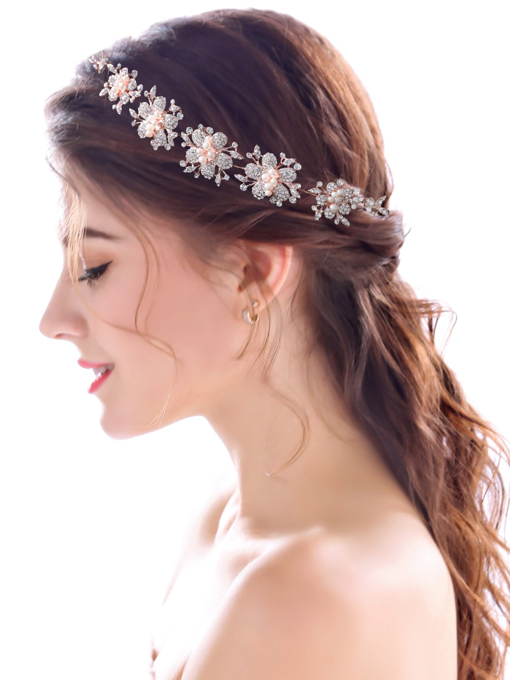 Amazon.com   Yean Wedding Headband Rose Gold Flower Rhinestones Bridal Hair  Band Hair Accessories for Brides and Bridesmaids with Ribbon   Beauty 62c7577f0f5