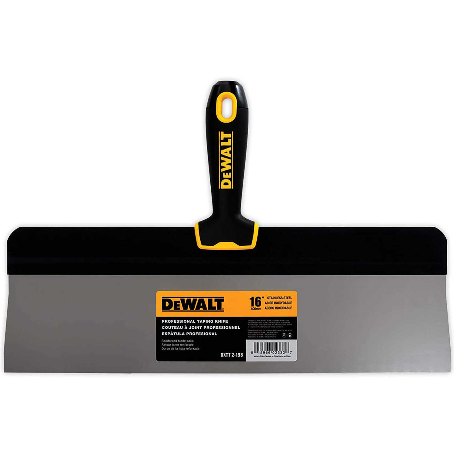 DEWALT 16-Inch Big Back Taping Knife | Stainless Steel w/Soft Grip Handle