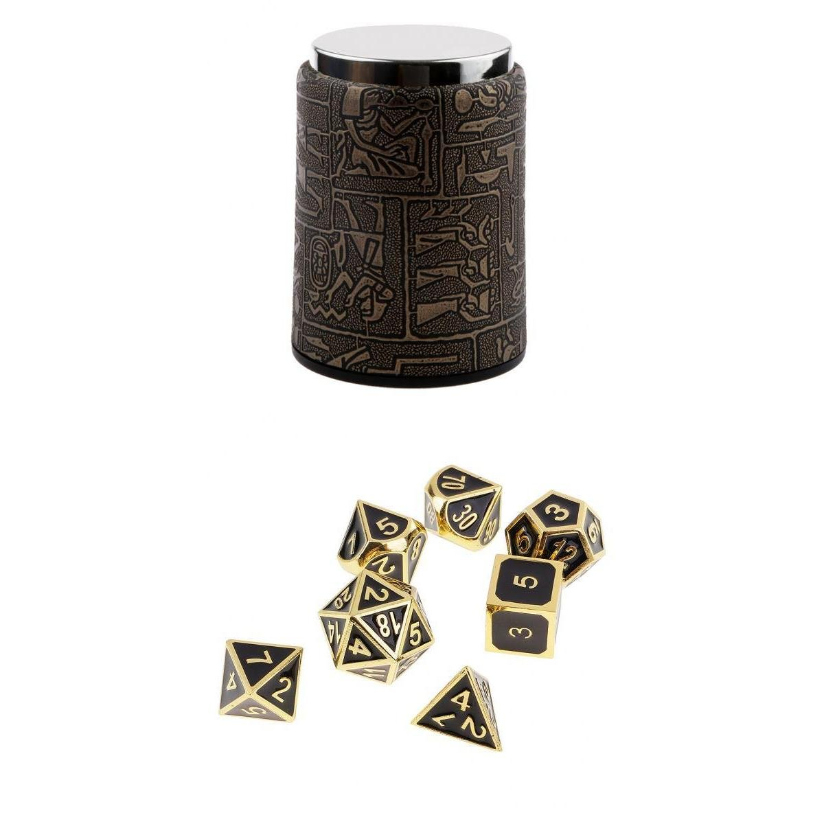 MagiDeal 7 Set Metal Polyhedral Dice for Dungeons and Dragons DND +Dice Cup Black #1 non-brand