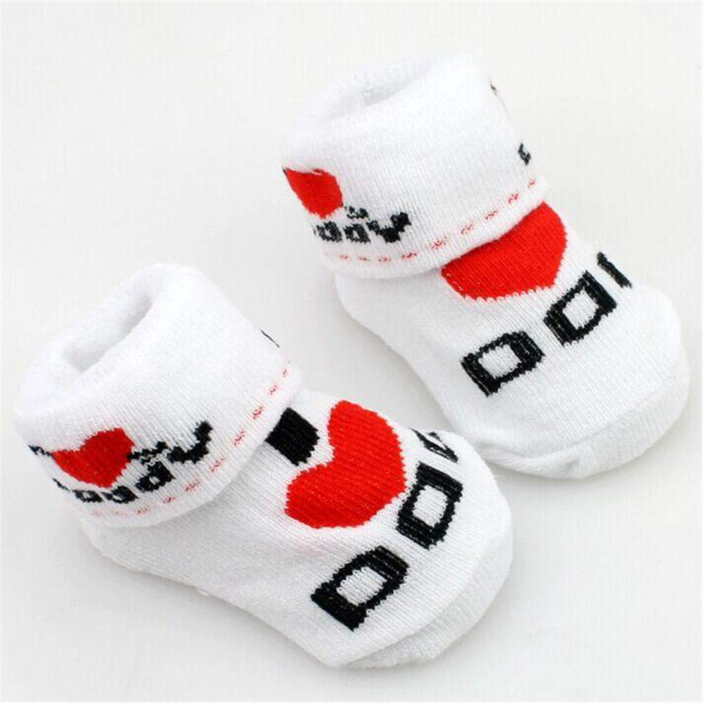 Qiaonai Soft Newborn Baby Toddler Infant Boys Girls Cotton Mom//Dad Socks 0~6 Months 2 Pack