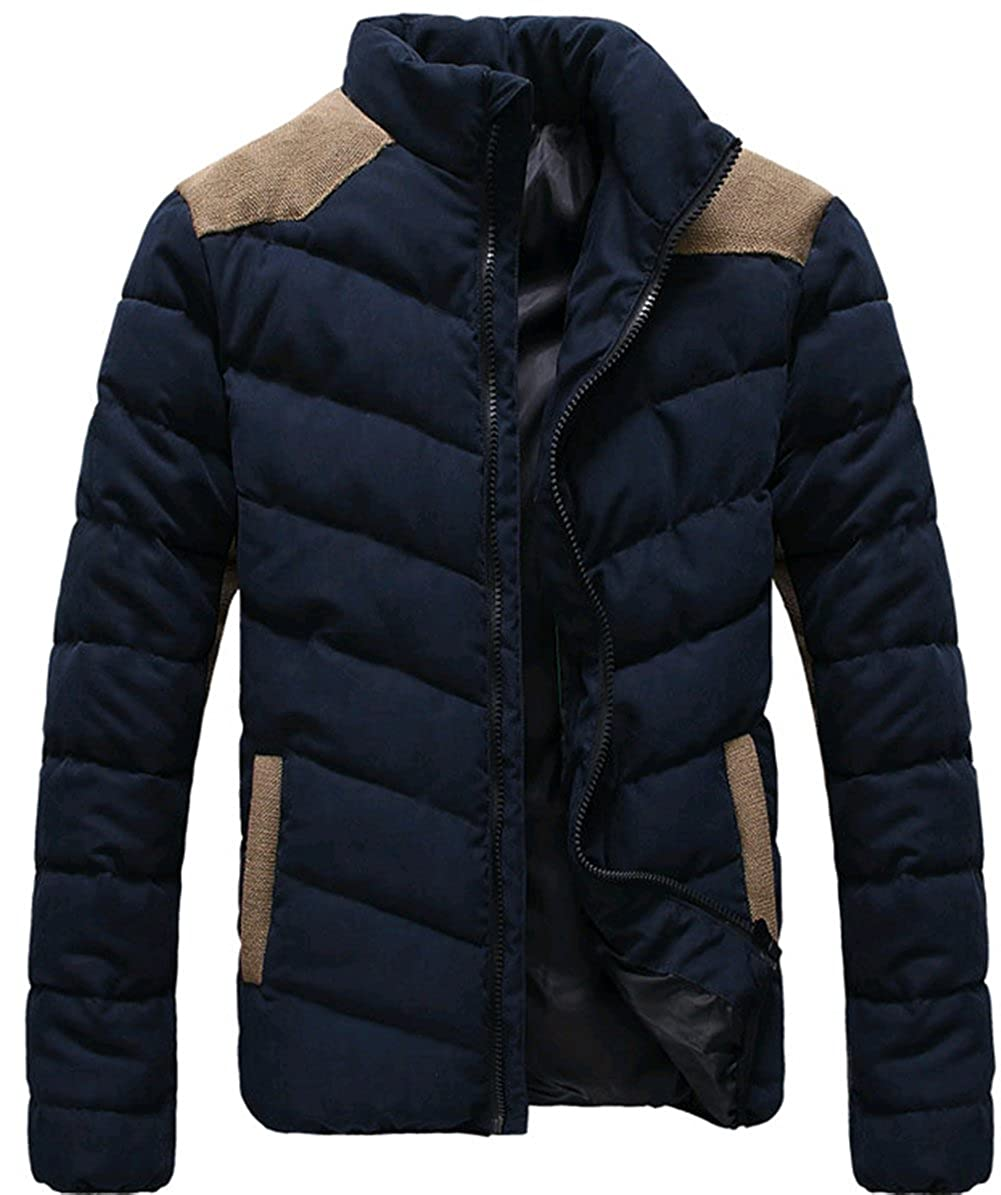 K3K Winter New Mens 100%Cotton Stand Collar Warm Coats