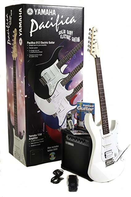 Yamaha Pacifica 012 - Guitarra eléctrica (con paquete básico), diseño vintage, color blanco: Amazon.es: Instrumentos musicales