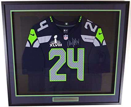 bffc770be SEATTLE SEAHAWKS MARSHAWN LYNCH AUTOGRAPHED FRAMED BLUE NIKE JERSEY WITH SB  XLVIII PATCH ML HOLO STOCK