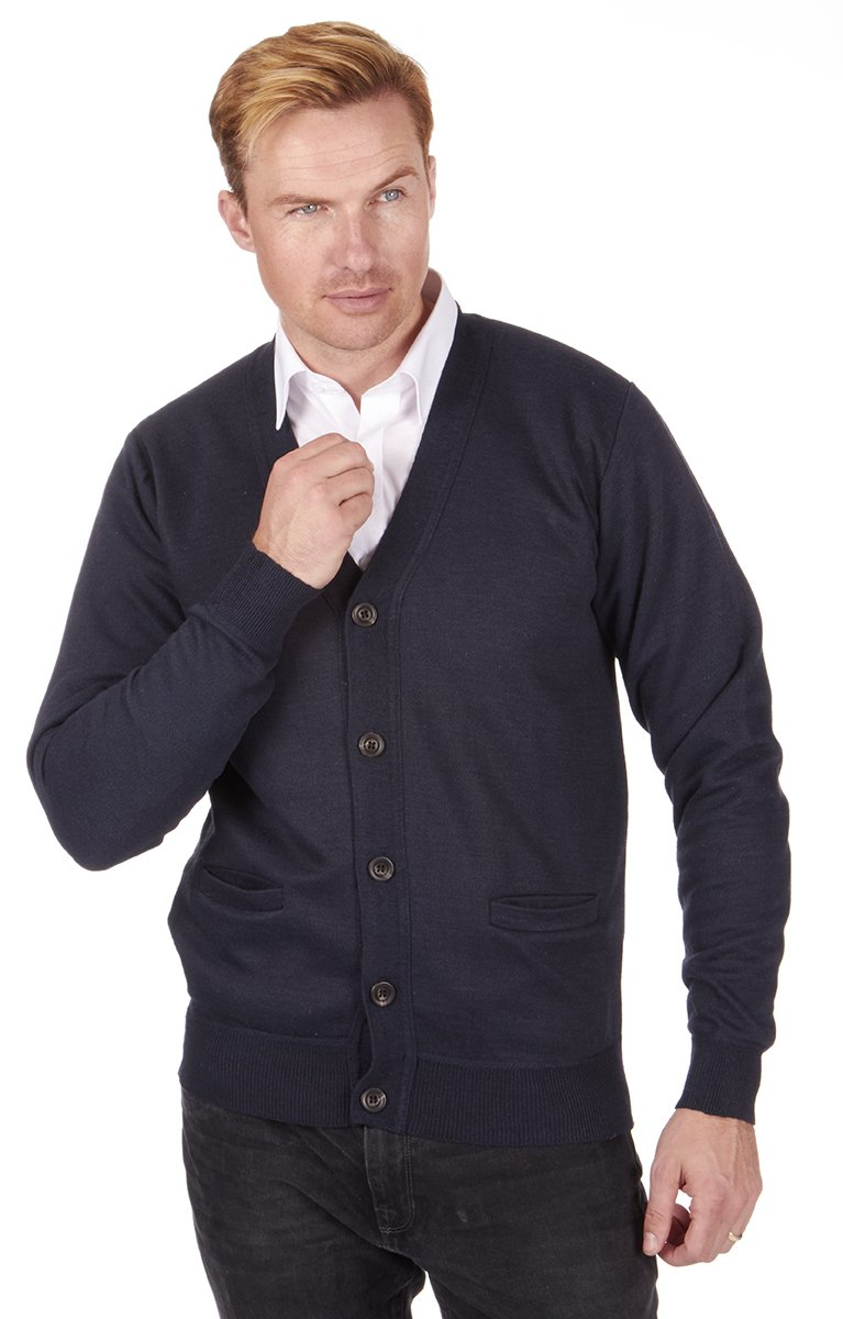 Pierre Roche Men's Knitted V Neck Shawl Collar Buttoned Cardigan