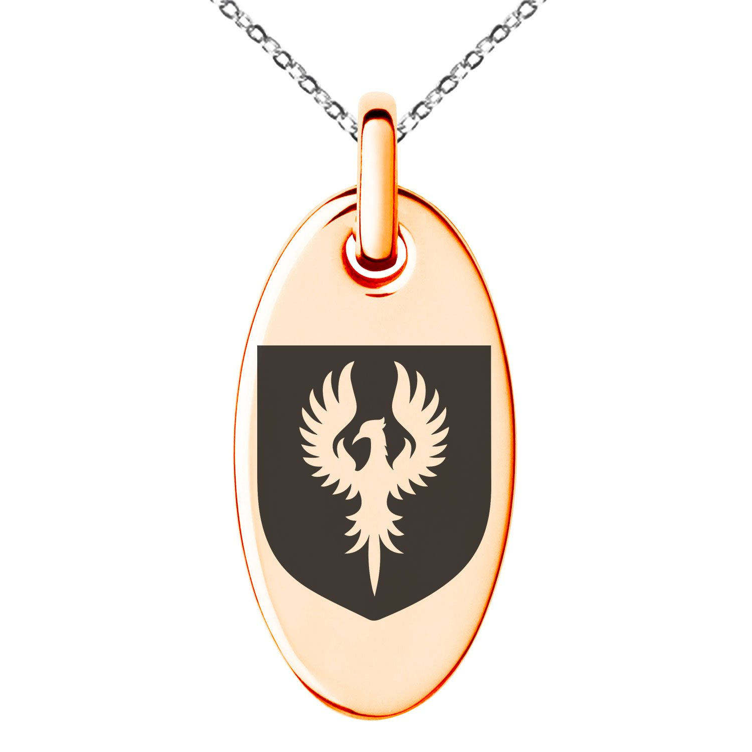 Tioneer Rose Gold Plated Stainless Steel Phoenix Resurrection Coat of Arms Shield Symbol Engraved Small Oval Charm Pendant Necklace