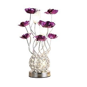 LED lampada da tavolo fiore rosso e viola, stile moderno semplice, lampada da comodino camera da letto, lampada da tavolo decorativa creativa nordica( Colore : Viola )