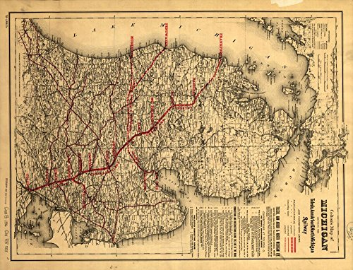 - Vintage 1886 Map of Michigan showing the Toledo, Ann Arbor, & North Michigan Railway and connecting lines. Shows drainage, cities and towns, townships, counties, and the railroad lines in red. Includes descriptive text on traffic connections. Michigan, United States