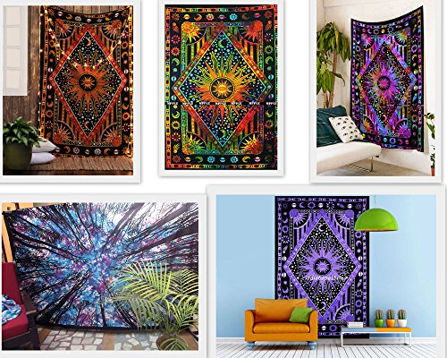Future Handmade Wholesale 5 Twin Tapestry Wholesale Indian Printed Tapestries Mandala Tapestry Tie Dye Tapestries Printed Tapestries Wall Hangings Hippie Magical Psychedelic 100% Cotton Bedspread