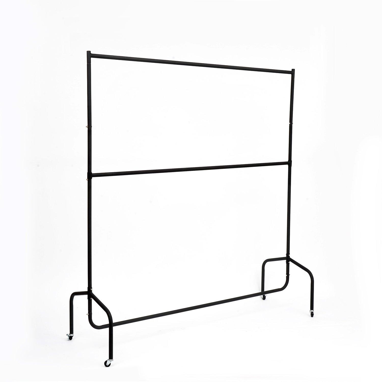 Homcom Portant Tringle à vêtement avec Perche étendue 180x60x150cm+30cm en Fer