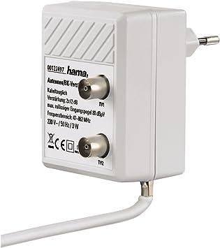Hama Amplificador de Antena de Dos Dispositivos (2 Puertos, 2 x 12 dB), Color Blanco