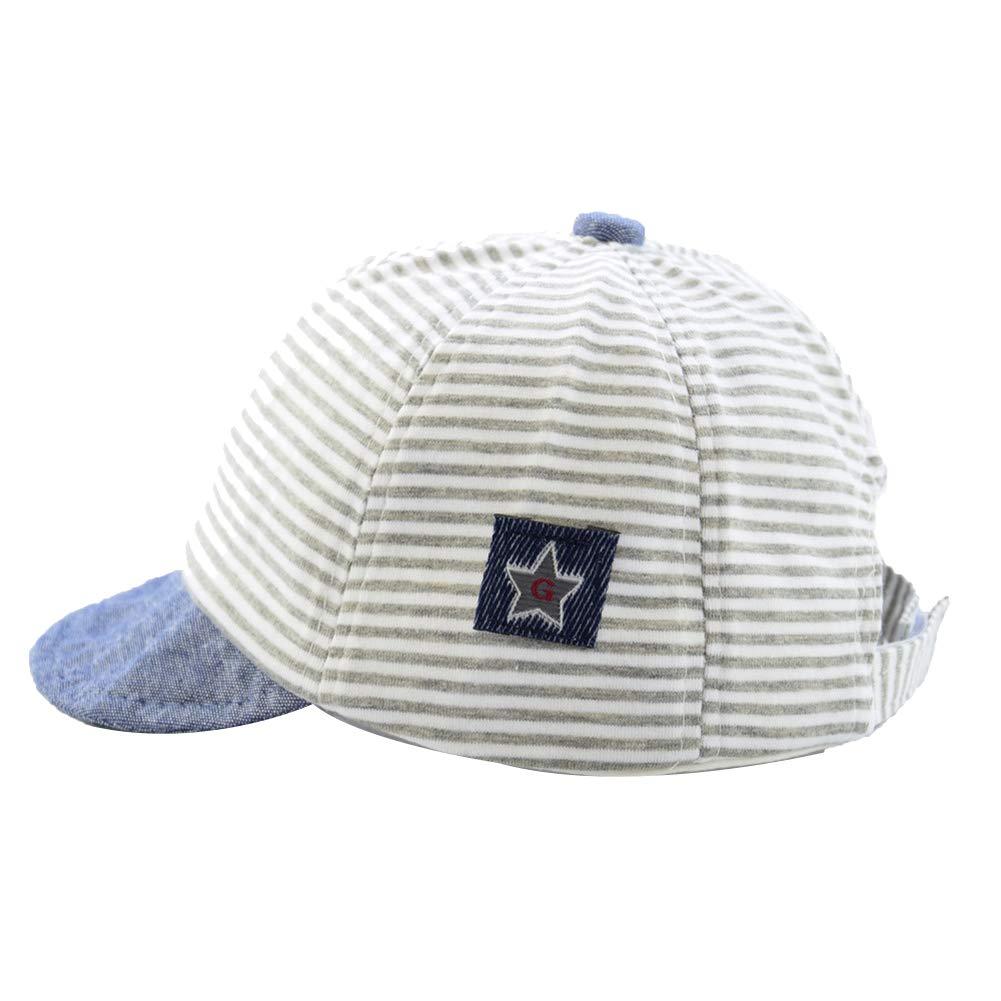 neonati cappello per bambini cappello estivo cappello regolabile con visiera di protezione solare Walkretynbe Kids Baby cappello classico da baseball a strisce per bambini puro cotone