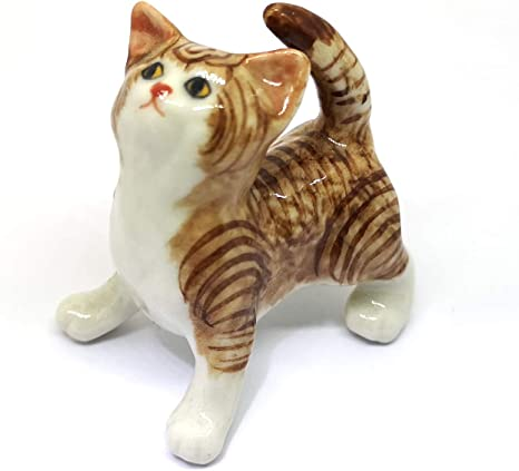 Vintage White Cat Figurine Porcelain Long Hair Kitty Seated