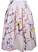 Alaroo Women's Floral Sakura Printed Elastic Waist A-Line Bust Midi Skirt