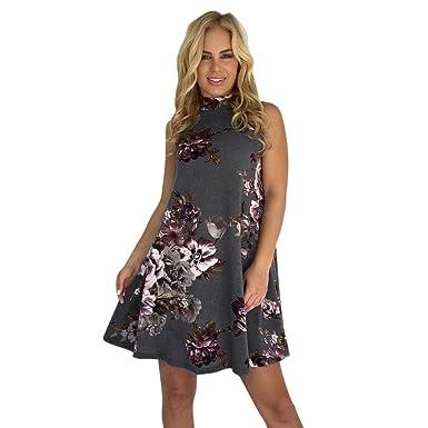 8c7ee84c5f5 LONUPAZZ Femme Été Fashion Imprimé Floral Mini Robe De Plage Fête sans  Manche  Amazon.fr  Vêtements et accessoires