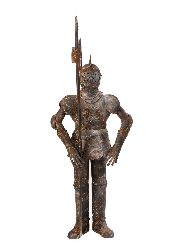 Skulptur Ritter 92cm Eisen Ritterrüstung rostig Rüstung antik Stil knight iron