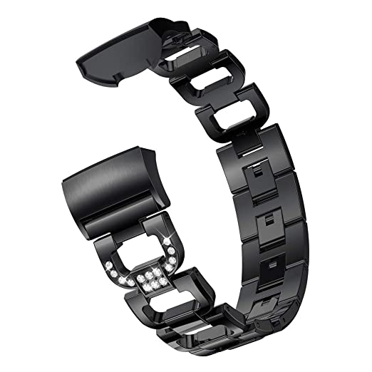 Black D Word Metal Bracelets Replacement Adjustable Straps Crystal for Fitbit Charge 3