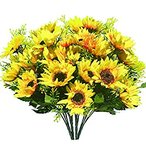 shuoxin Artificial Flowers Fake Sunflowers, 4PCS Faux Silk Flowers Floral Table Centerpieces Arrangements Home Kitchen Office Windowsill Hanging Spring Decorations 37