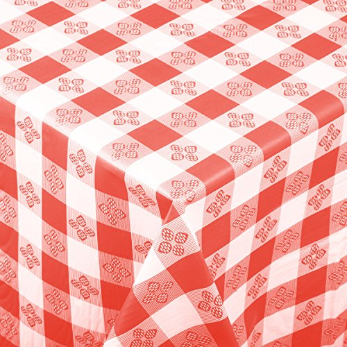 Rectangular Red Checkered Plastic Tablecloth With Cotton .