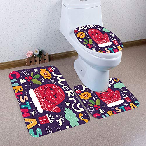 Christmas Toilet Seat Cover Set Pussan Christmas Bathroom Rugs Bath Mat Set Non-Slip Santa Toilet Tank & Lid Cover Christmas Bathroom Decoration for Kids Snowman Elk Christmas Novelty Gifts CSD-2 ()
