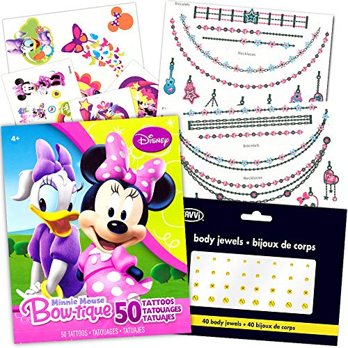 Minnie Mouse Tattoos (Minnie Mouse Tattoos Party Favor Super Set -- Over 100 Pieces (18 Flash Metallic Jewelry Tattoos, Over 50 Standard Temporary Tattoos, 40 Jewel)