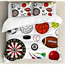 Lunarable Boy's Room Duvet Cover Set Queen Size, Variety of Sports Icons Different Games Balls Dartboard Hockey Puck and Pins, Decorative 3 Piece Bedding Set with 2 Pillow Shams, Multicolor