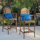Great Deal Furniture Malibu Outdoor Natural Stained Acacia Wood Adirondack Barstools (Set of 2)