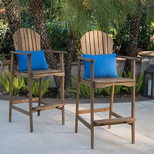 Great Deal Furniture Malibu Outdoor Natural Stained Acacia Wood Adirondack Barstools (Set of 2) Review