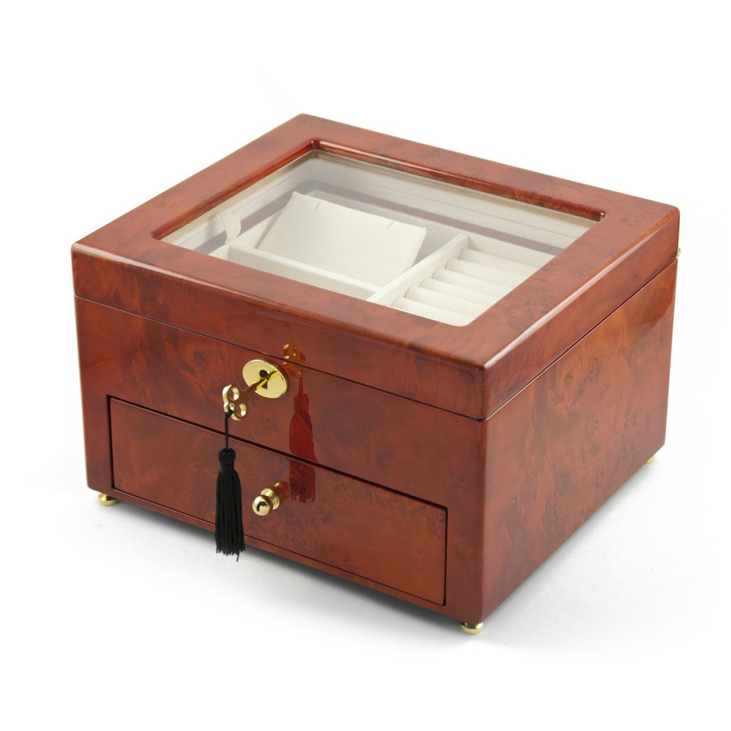 Classic Wood Tone Glass Panel 18 Note Music Jewelry Box - Send in the Clowns by MusicBoxAttic