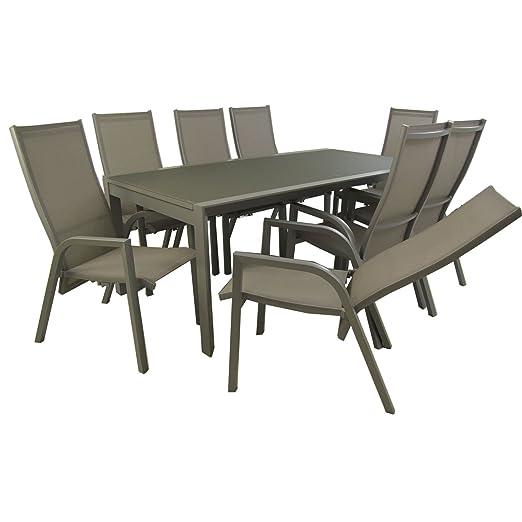 Conjunto para jardín, Mesa Extensible 200/300 y 8 sillones reclinables, Aluminio y textilene Gris, Cristal Templado, 8 plazas