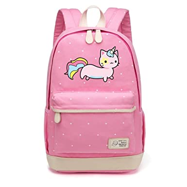 Cat Canvas Unicorn Flower Wave Point Rucksacks Backpack For Teenagers Girls Women School Travel Shoulder Bag