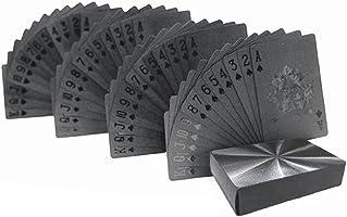 Baynne 54pcs/Pack Fashion Gold Foil Poker Novelty Collection Waterproof PVC Plastic Color:Black Size: