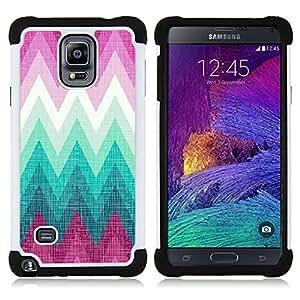 Hypernova Híbrido Heavy Duty armadura cubierta silicona prueba golpes Funda caso resistente Para Samsung Galaxy Note 4 IV / SM-N910 [Rosa acqua marina esempio forma Lines]