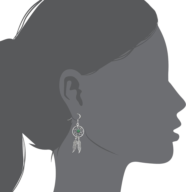 Sistakno Argent sterling 925/Dream Catcher Gypsy Cowgirl Style boh/émien /à suspendre avec plumes Boucles doreilles