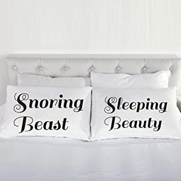 sleeping beauty and snoring beast pillow cases