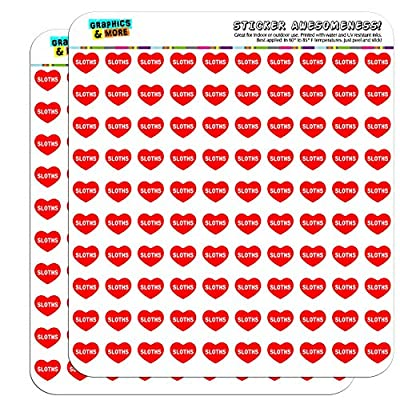 Graphics And More I Love Heart Sloths Planner Calendar Scrapbooking Crafting Stickers - Sloth Art