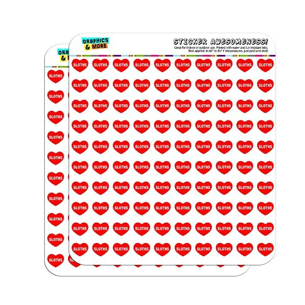 Graphics And More I Love Heart Sloths Planner Calendar Scrapbooking Crafting Stickers -