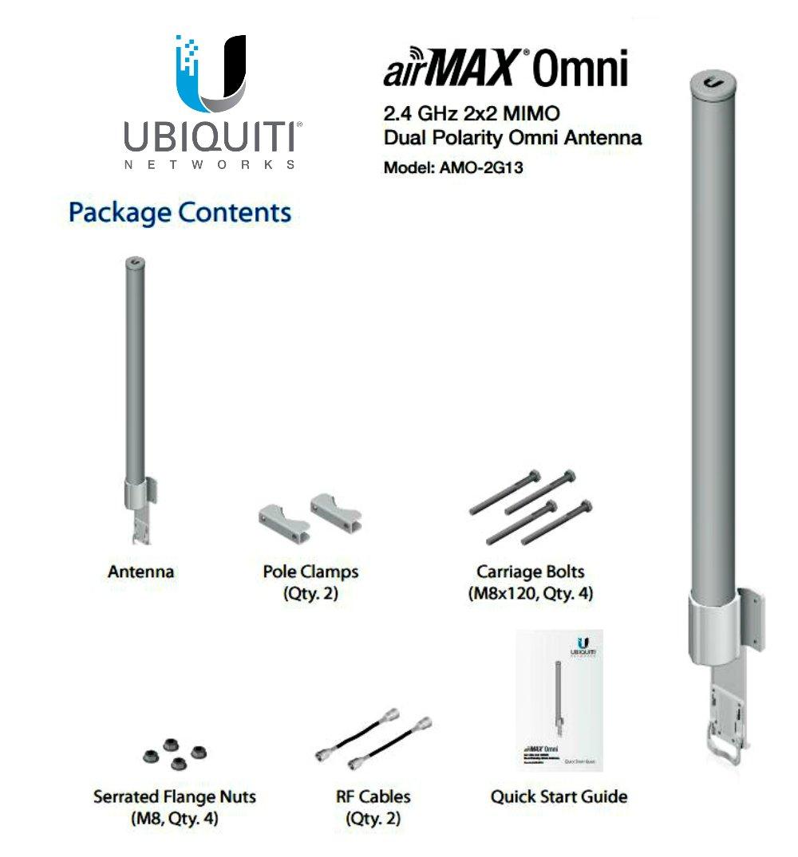 UBIQUITI NETWORKS AMO-2G13 Ubiquiti AMO-2G13, 2.4GHz 2x2 13dBi AirMax Omni Antenna Integrat AMO-2G13
