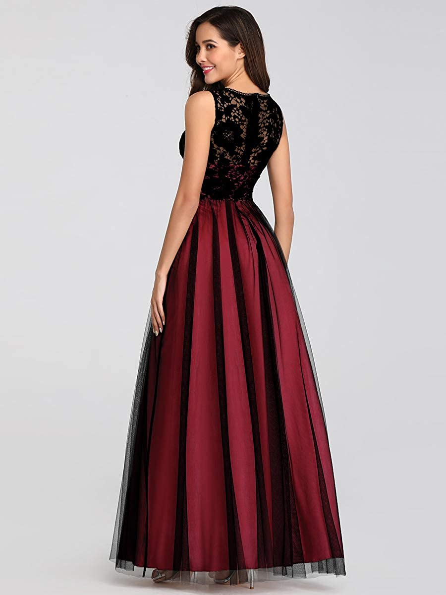 Ever-Pretty Vestito da Cerimonia Donna Linea ad A Pizzo Tulle Girocollo Senza Maniche Stile Impero Lungo EZ07788