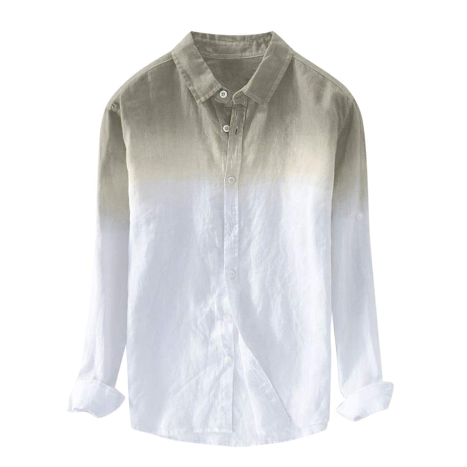 Shirt Plus Size Summer Mens Cool Thin Breathable Lapel Hanging Dyed Cotton Shirt,Gy,M,
