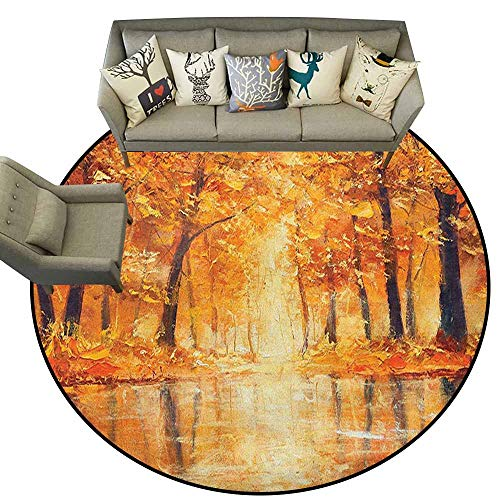 Non-Slip Round Rugs,Country,Painting of a Forest by The Small Lake in Autumn Pale Fall Trees and Leaves Art, Orange Brown,Circular Carpet Bedroom A Living Room Desk Seat Cushion Carpet 5.2