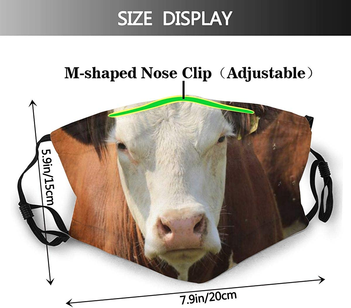 DECISAIYA Brown Funny Face Sky Cow Farm Animals Pasture Summer Rural Wildlife Beef Nature Bovine Bull Cattle Unisex Washable Mouth Sleeve with Filter Anti-Dust Reusable Mouth Guard-Include 6 Filters