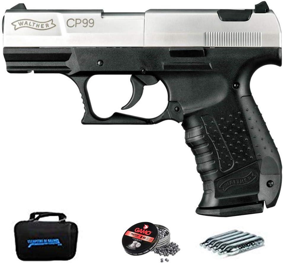 Walther CP99 Bicolor (blowback) | Pack Pistola de balines (perdigones). Arma de Aire comprimido CO2 Calibre 4,5mm <3,5J