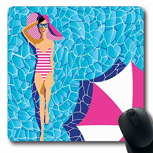 LifeCO Mouse Pad Glamorous Tan Attractive Young Tanning Pool Season Sunglasses Adult Beach Board Body Design Water Oblong Shape 7.9 x 9.5 Inches Mousepad for Notebook Computer Mat Non-Slip Rubber