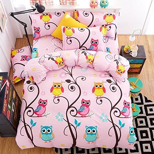 4pcs Kids Bedding Set Cantoon One Duvet Cover Without Comforter One Flat Sheet Two Pillowcases Twin Full Queen for Kids Teens Happy Owl Forest Design (Twin, Happy Owl)