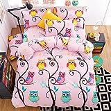 4pcs Bedding Set Cantoon Animal Design Duvet Cover Flat Sheet Pillowcase Twin Full Queen for Kids Teens (Twin, Happy Owl, Pink)