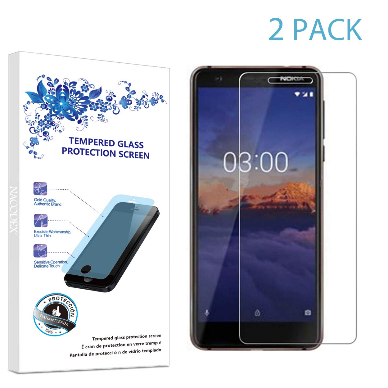 big sale 88de6 e31a1 Amazon.com: 2-Pack Screen Protector for Nokia 3.1 / Nokia 3 2018 ...